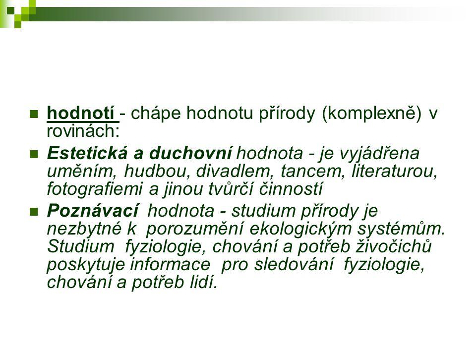 hodnotí - chápe hodnotu přírody (komplexně) v rovinách: