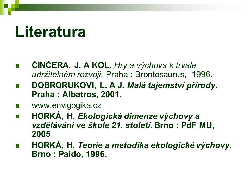 Literatura ČINČERA, J. A KOL. Hry a výchova k trvale udržitelném rozvoji. Praha : Brontosaurus, 1996.