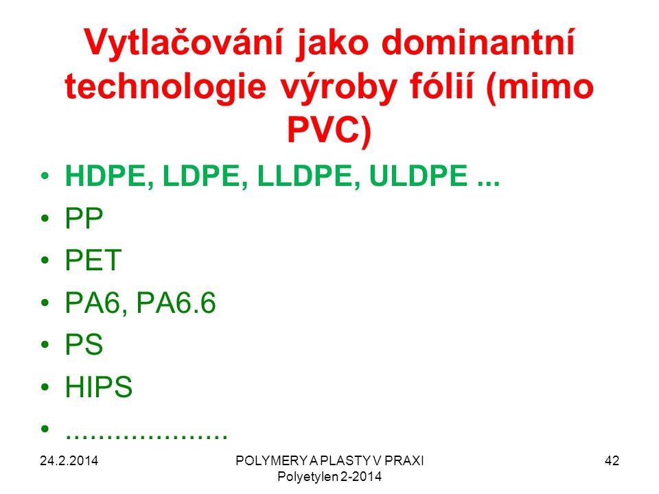 Vytlačování jako dominantní technologie výroby fólií (mimo PVC)