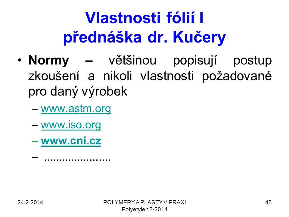 Vlastnosti fólií I přednáška dr. Kučery