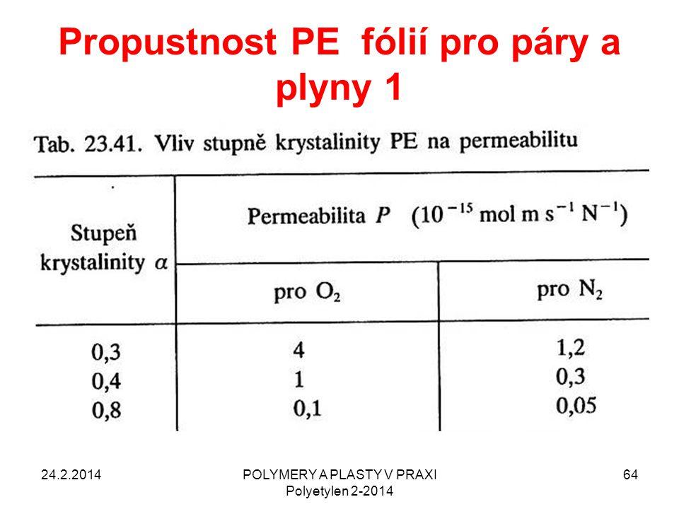 Propustnost PE fólií pro páry a plyny 1