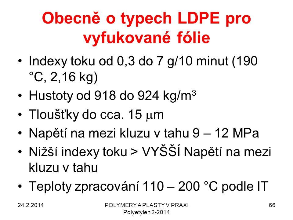 Obecně o typech LDPE pro vyfukované fólie