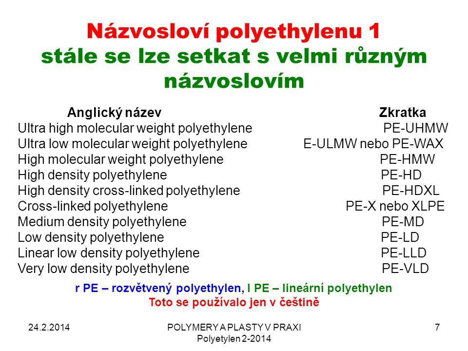 Názvosloví polyethylenu 1 stále se lze setkat s velmi různým názvoslovím