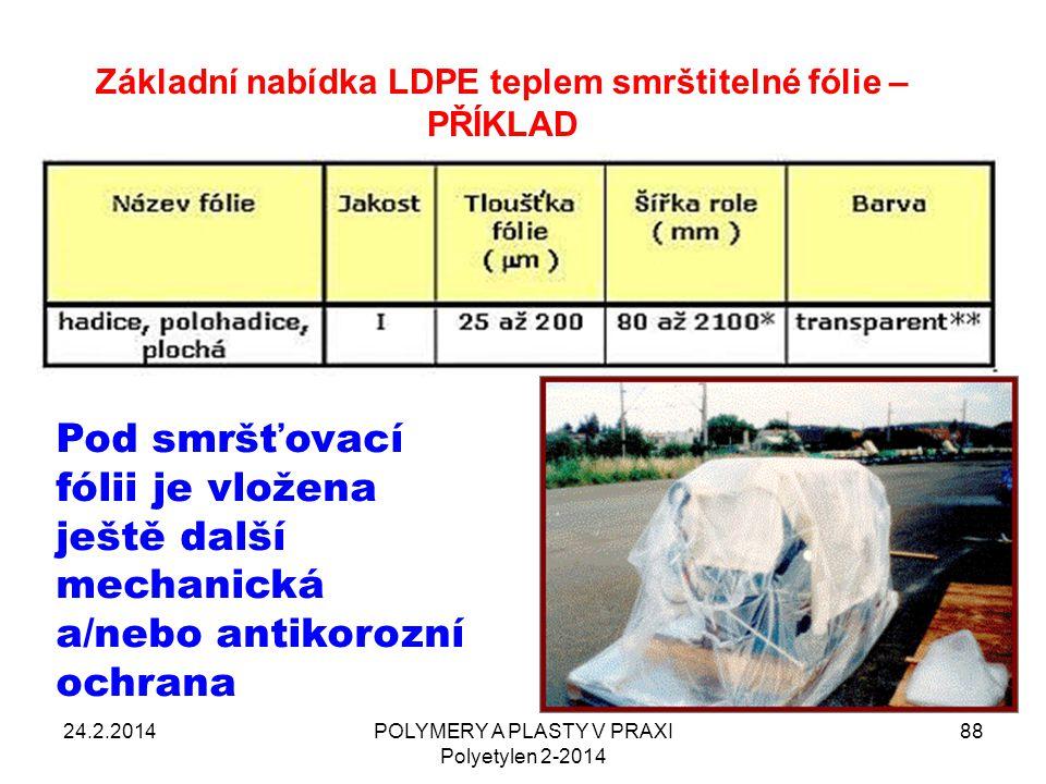 Základní nabídka LDPE teplem smrštitelné fólie – PŘÍKLAD