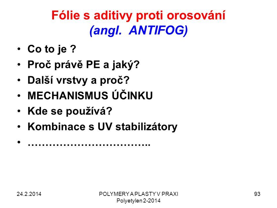 Fólie s aditivy proti orosování (angl. ANTIFOG)