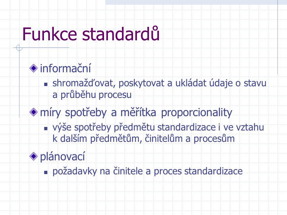 Funkce standardů informační míry spotřeby a měřítka proporcionality