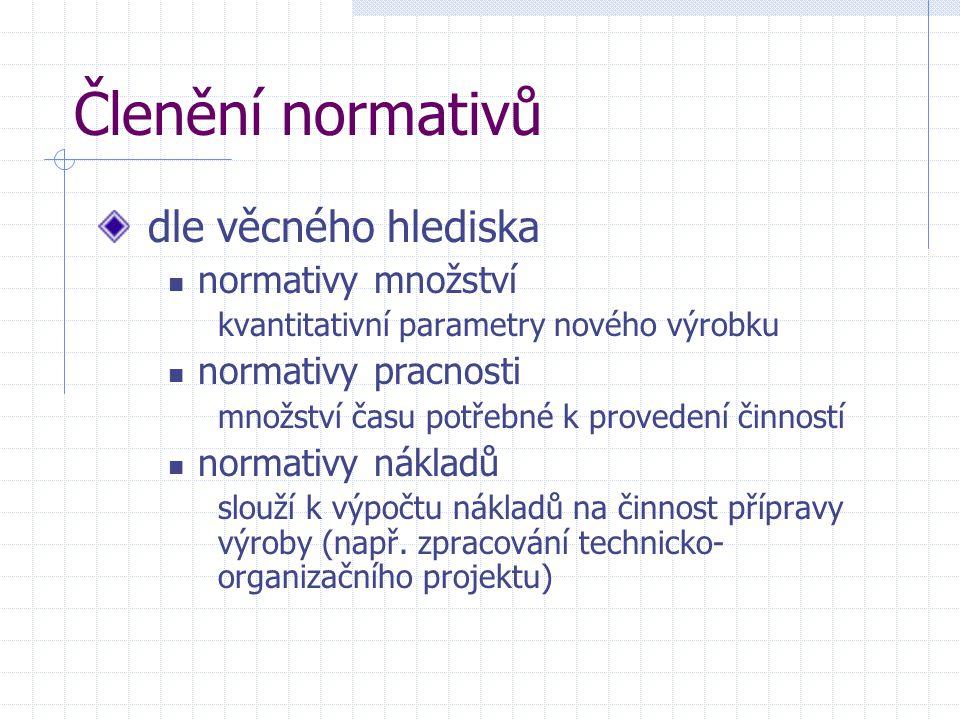 Členění normativů dle věcného hlediska normativy množství