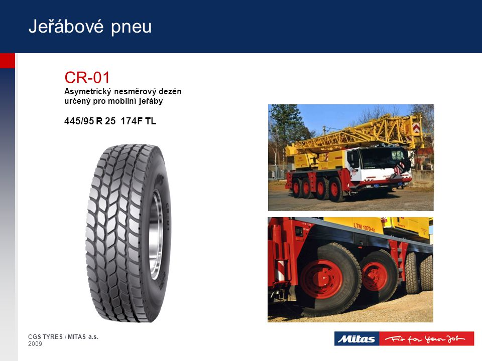 Jeřábové pneu CR-01 445/95 R 25 174F TL Asymetrický nesměrový dezén