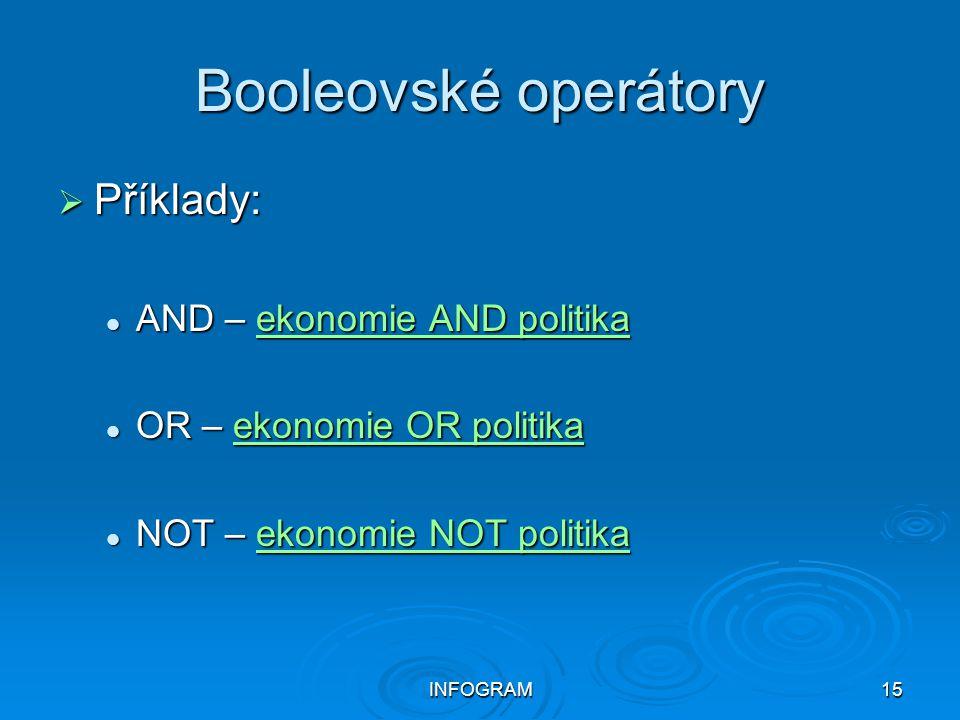 Booleovské operátory Příklady: AND – ekonomie AND politika