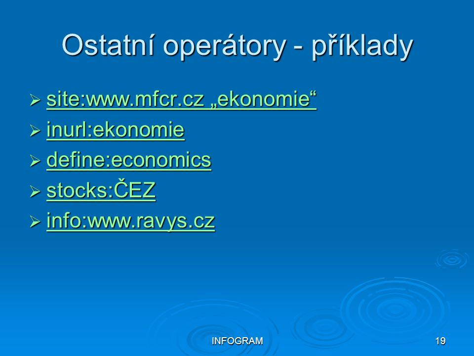 Ostatní operátory - příklady