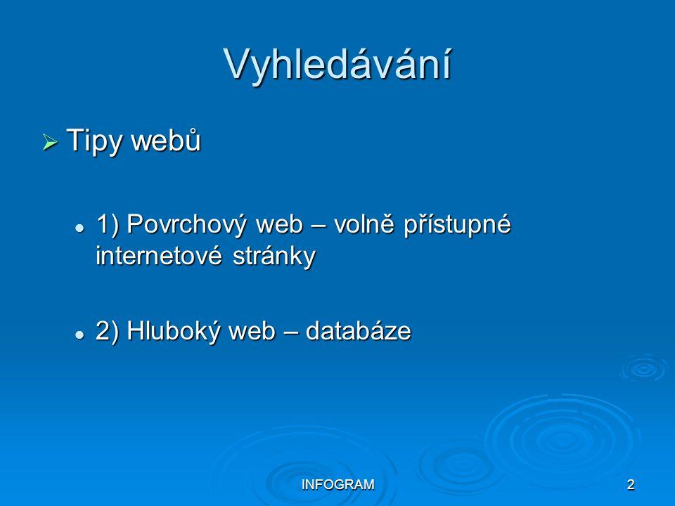 Vyhledávání Tipy webů. 1) Povrchový web – volně přístupné internetové stránky. 2) Hluboký web – databáze.