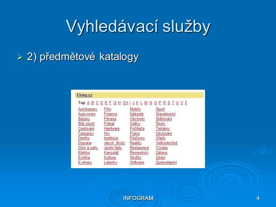 Vyhledávací služby 2) předmětové katalogy INFOGRAM