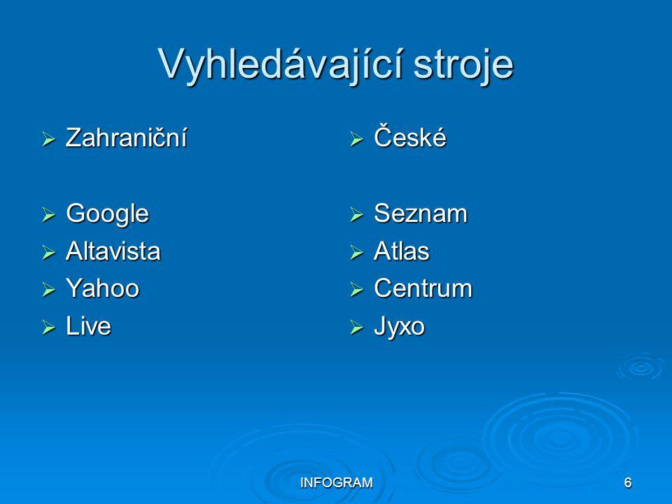 Vyhledávající stroje Zahraniční Google Altavista Yahoo Live České
