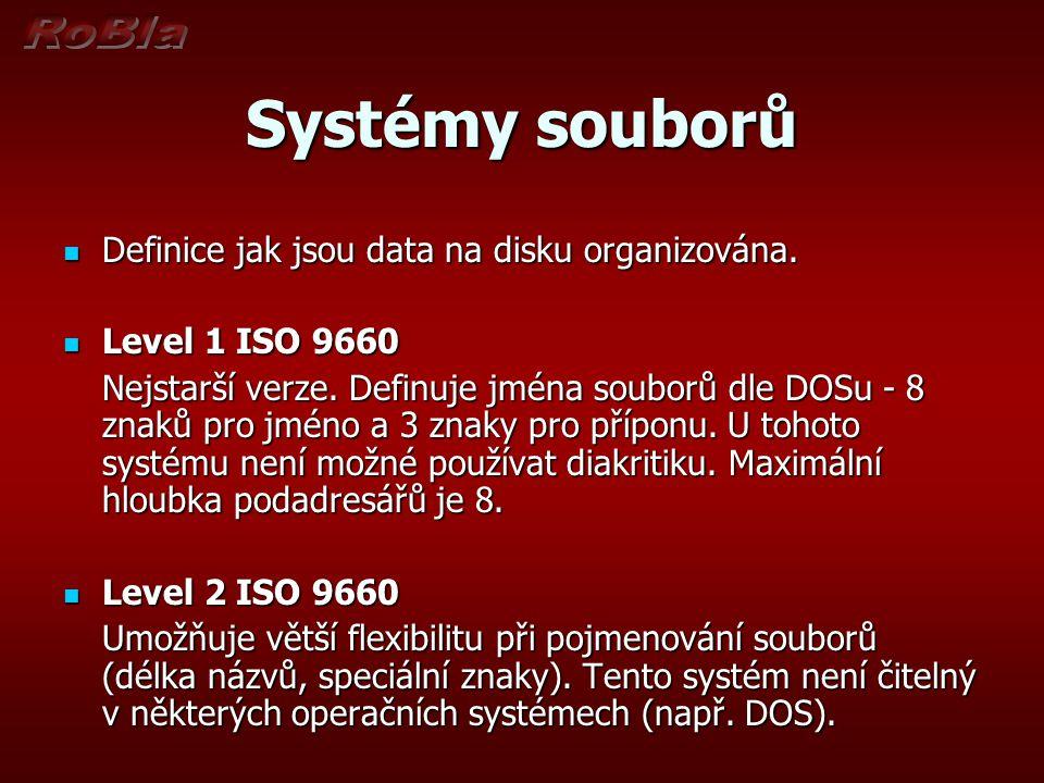 Systémy souborů Definice jak jsou data na disku organizována.