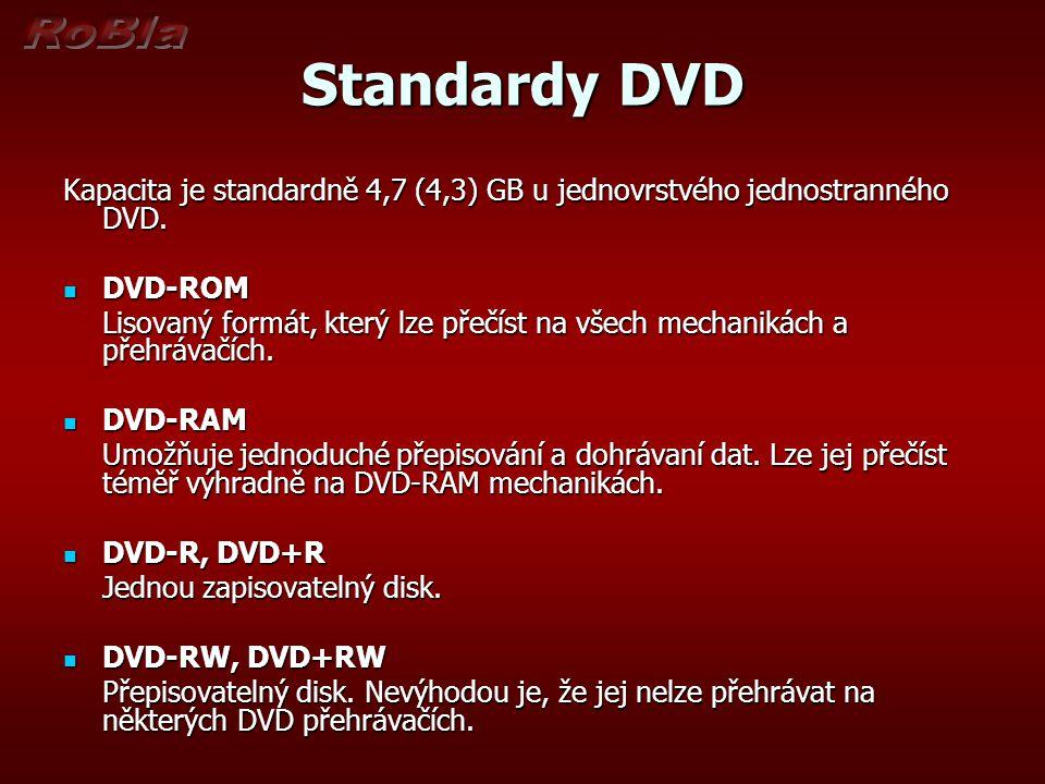 Standardy DVD Kapacita je standardně 4,7 (4,3) GB u jednovrstvého jednostranného DVD. DVD-ROM.