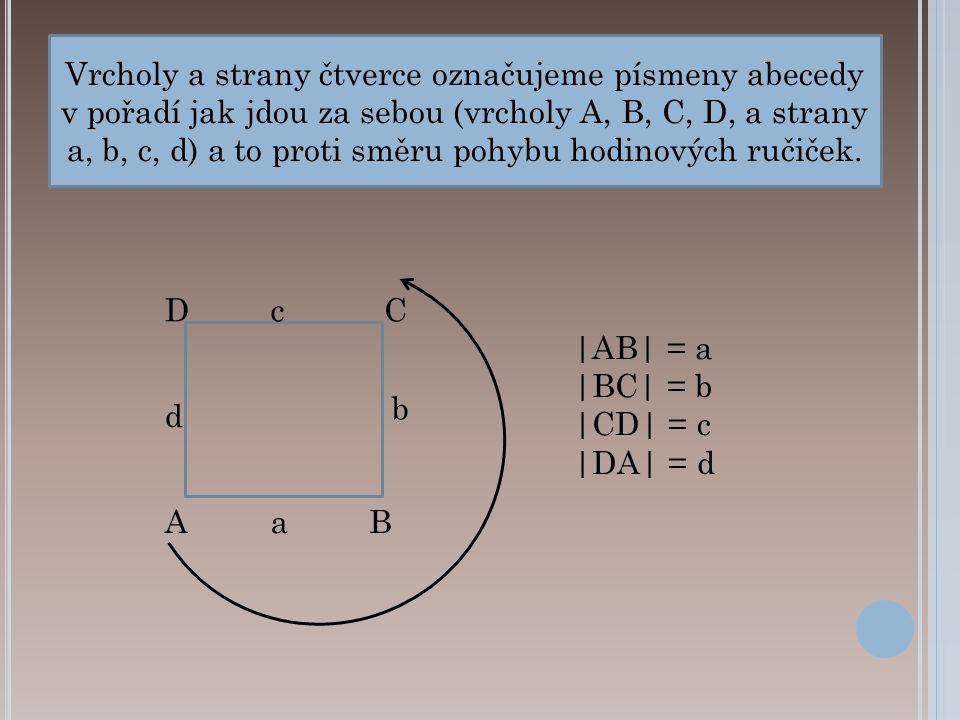 Vrcholy a strany čtverce označujeme písmeny abecedy v pořadí jak jdou za sebou (vrcholy A, B, C, D, a strany a, b, c, d) a to proti směru pohybu hodinových ručiček.