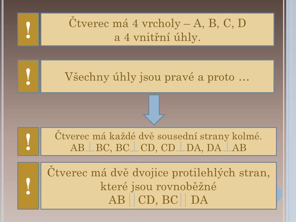 ! ! ! ! Čtverec má 4 vrcholy – A, B, C, D a 4 vnitřní úhly.