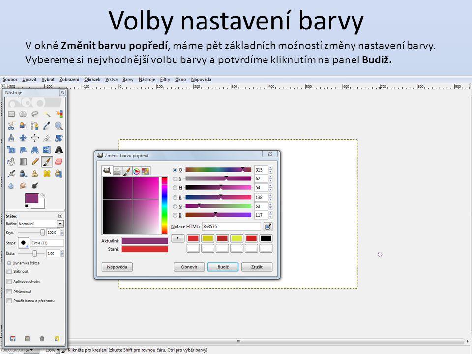 Volby nastavení barvy V okně Změnit barvu popředí, máme pět základních možností změny nastavení barvy.