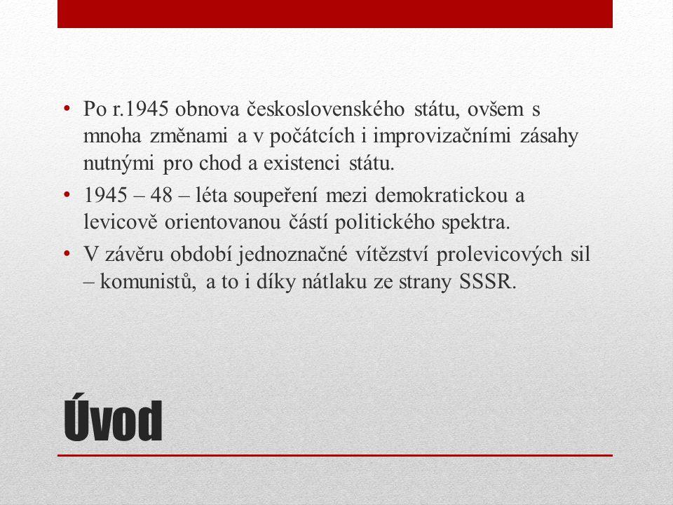 Po r.1945 obnova československého státu, ovšem s mnoha změnami a v počátcích i improvizačními zásahy nutnými pro chod a existenci státu.