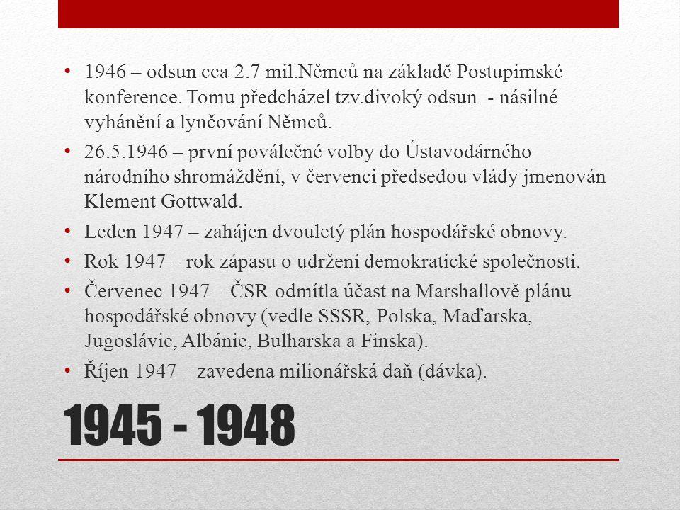 1946 – odsun cca 2. 7 mil. Němců na základě Postupimské konference