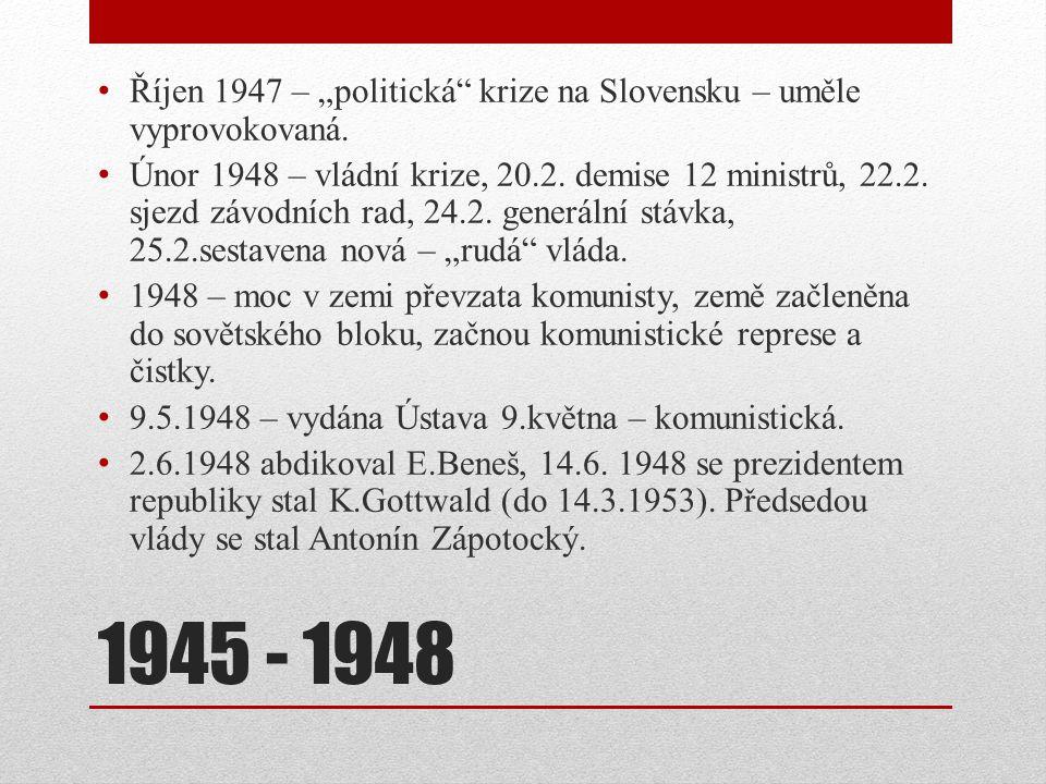 """Říjen 1947 – """"politická krize na Slovensku – uměle vyprovokovaná."""