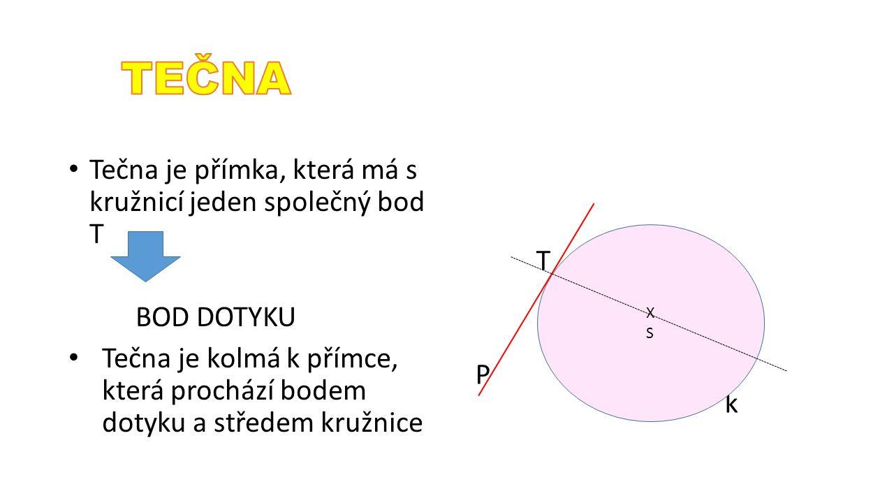 TEČNA Tečna je přímka, která má s kružnicí jeden společný bod T T P k