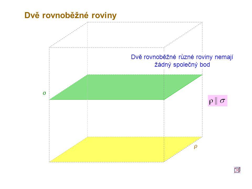 Dvě rovnoběžné různé roviny nemají žádný společný bod