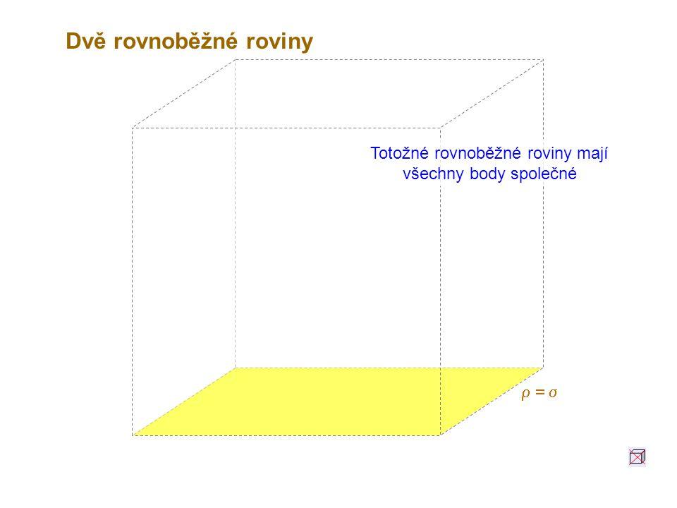 Totožné rovnoběžné roviny mají všechny body společné