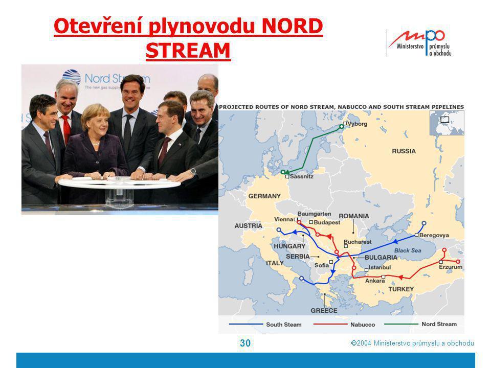 Otevření plynovodu NORD STREAM