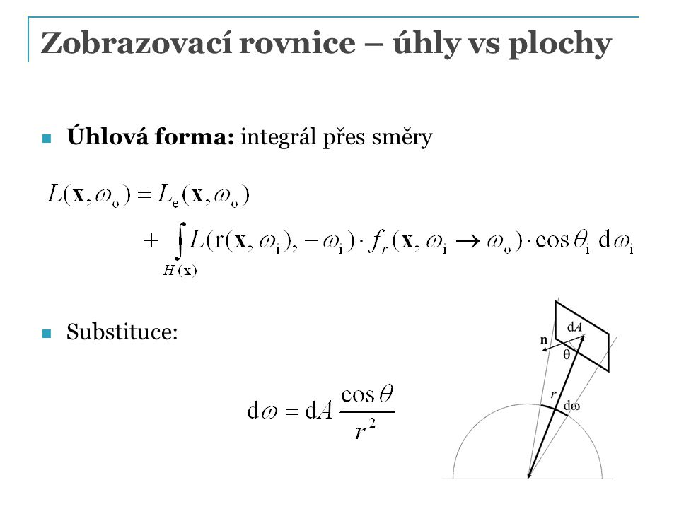 Zobrazovací rovnice – úhly vs plochy