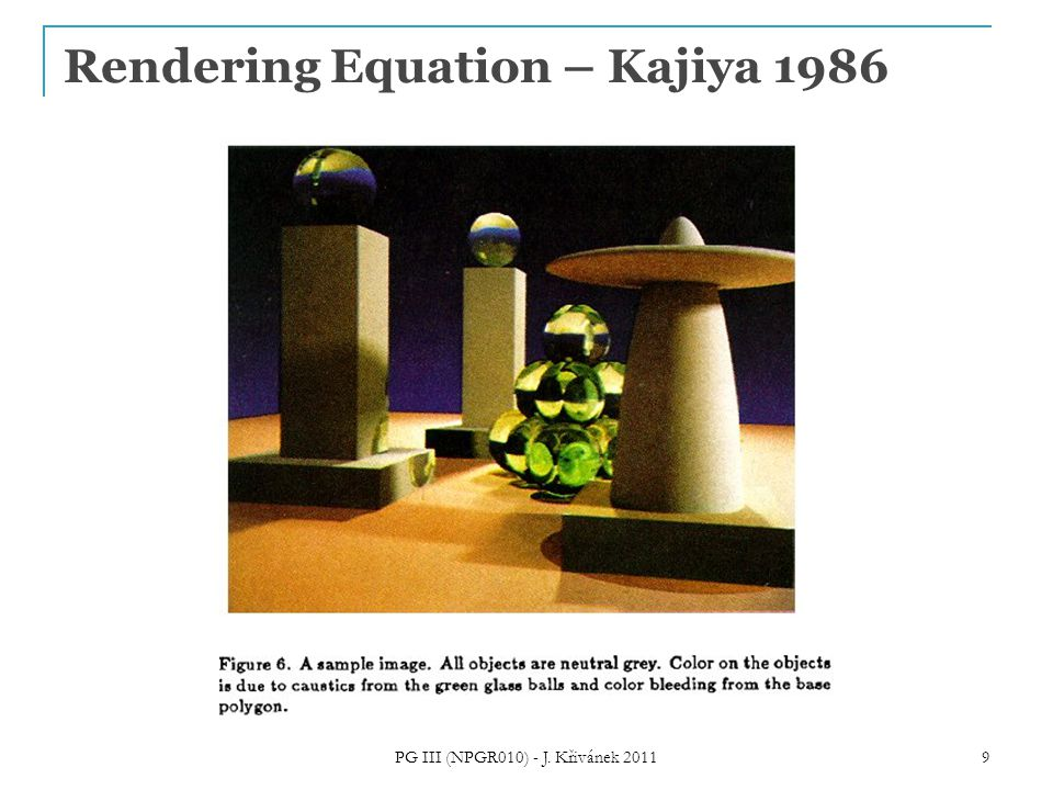 Rendering Equation – Kajiya 1986