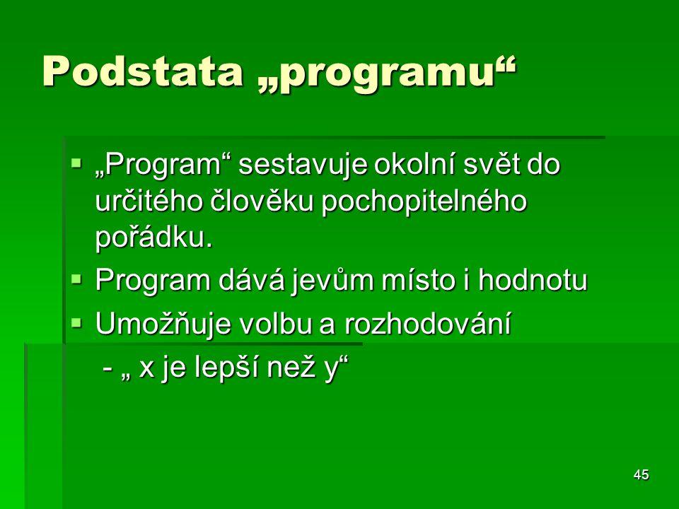 """Podstata """"programu """"Program sestavuje okolní svět do určitého člověku pochopitelného pořádku. Program dává jevům místo i hodnotu."""