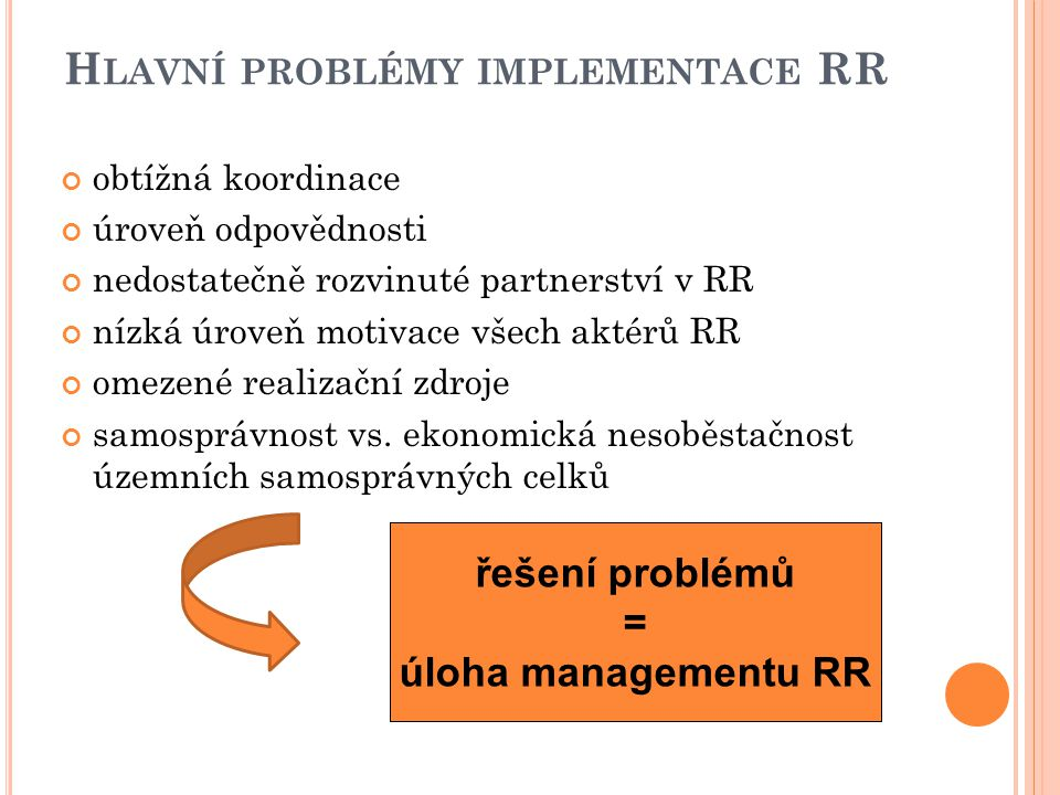 Hlavní problémy implementace RR