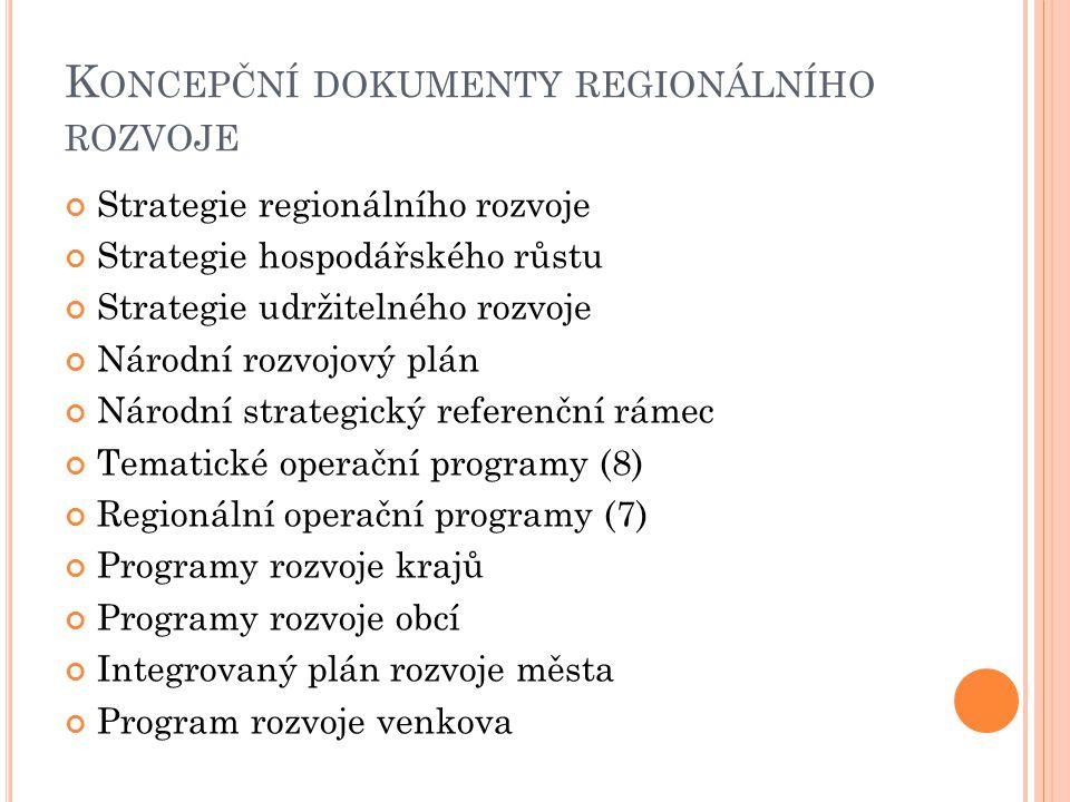 Koncepční dokumenty regionálního rozvoje