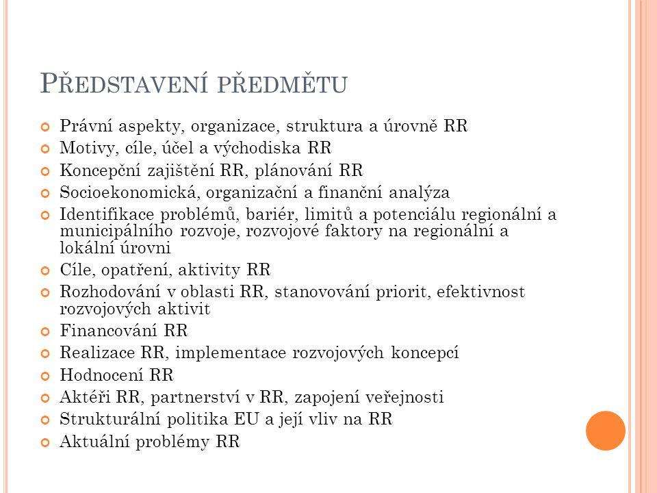 Představení předmětu Právní aspekty, organizace, struktura a úrovně RR
