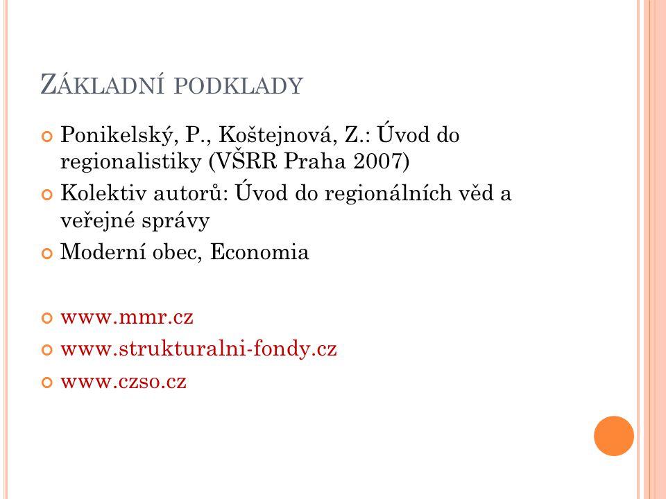 Základní podklady Ponikelský, P., Koštejnová, Z.: Úvod do regionalistiky (VŠRR Praha 2007)