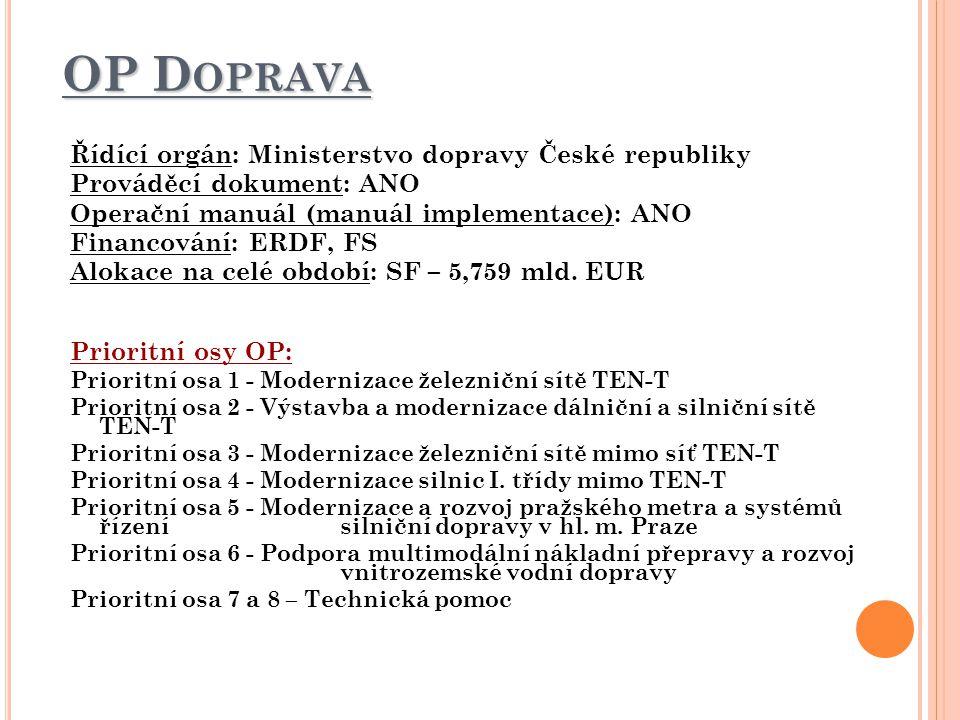 OP Doprava Řídící orgán: Ministerstvo dopravy České republiky