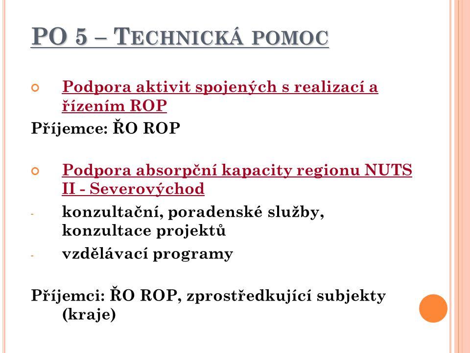 PO 5 – Technická pomoc Podpora aktivit spojených s realizací a řízením ROP. Příjemce: ŘO ROP.