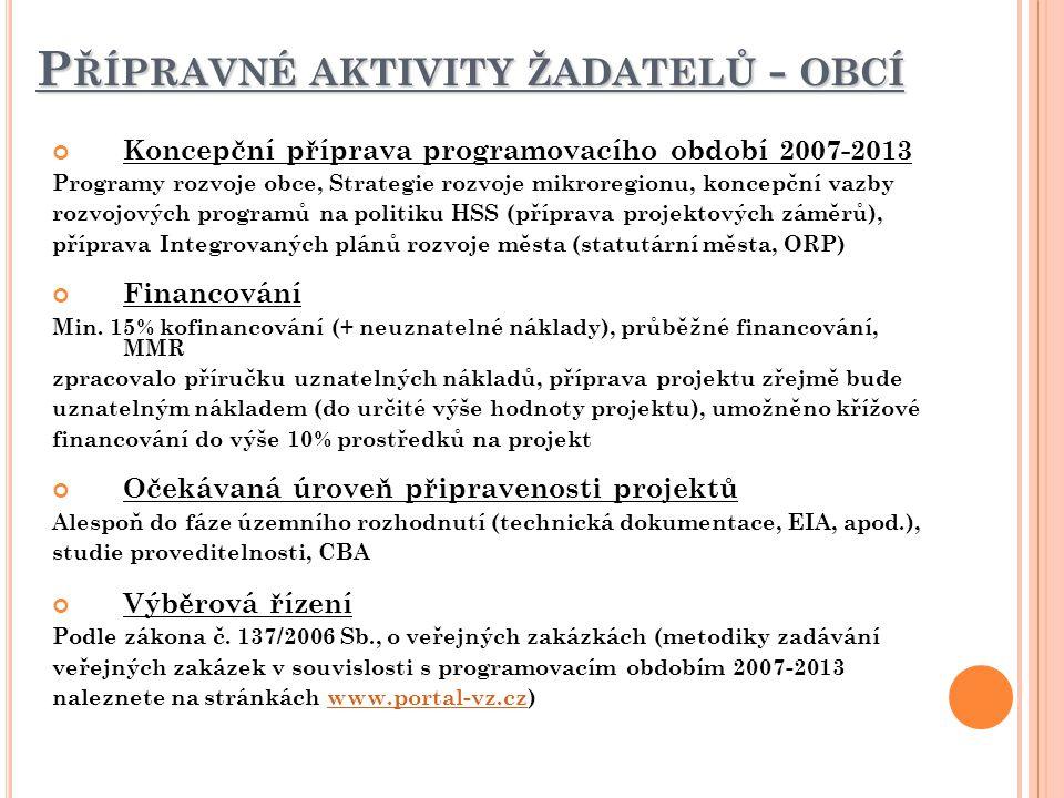 Přípravné aktivity žadatelů - obcí