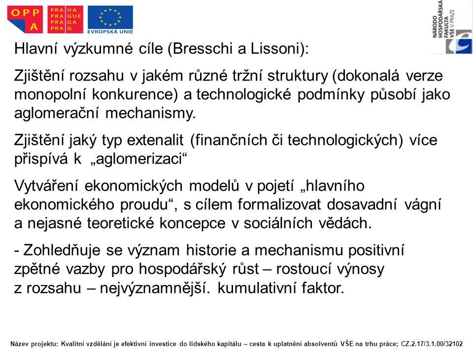 Hlavní výzkumné cíle (Bresschi a Lissoni):
