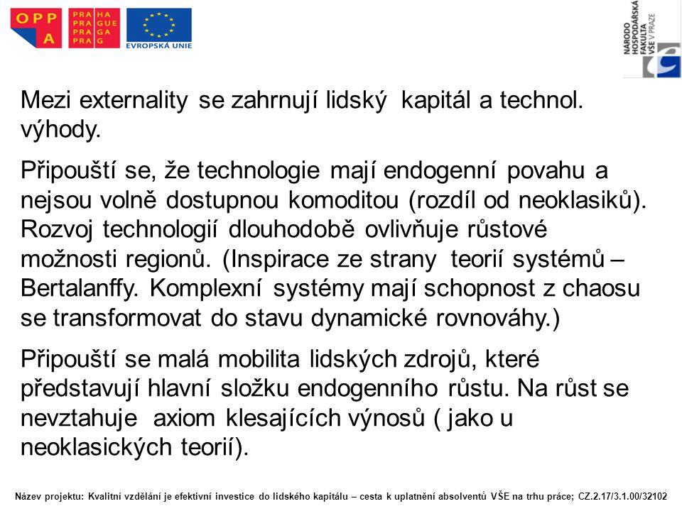 Mezi externality se zahrnují lidský kapitál a technol. výhody.