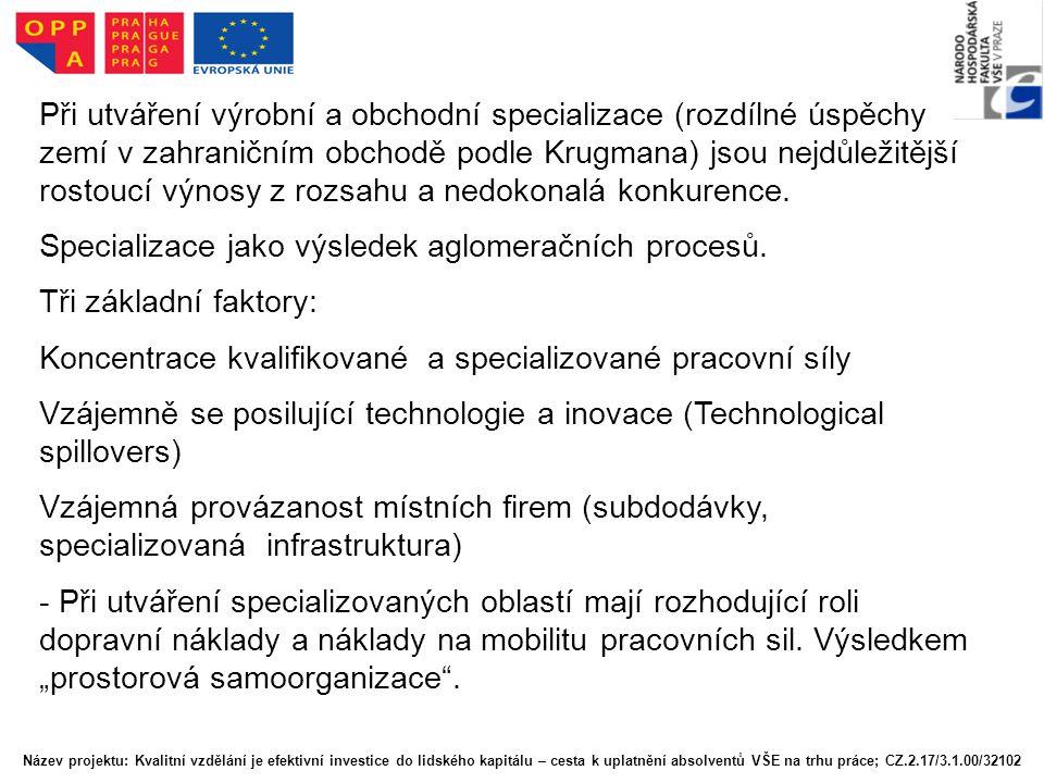 Specializace jako výsledek aglomeračních procesů.