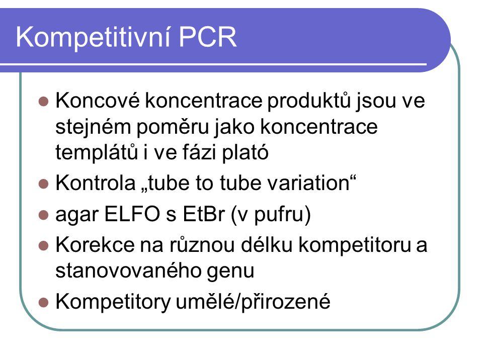 Kompetitivní PCR Koncové koncentrace produktů jsou ve stejném poměru jako koncentrace templátů i ve fázi plató.