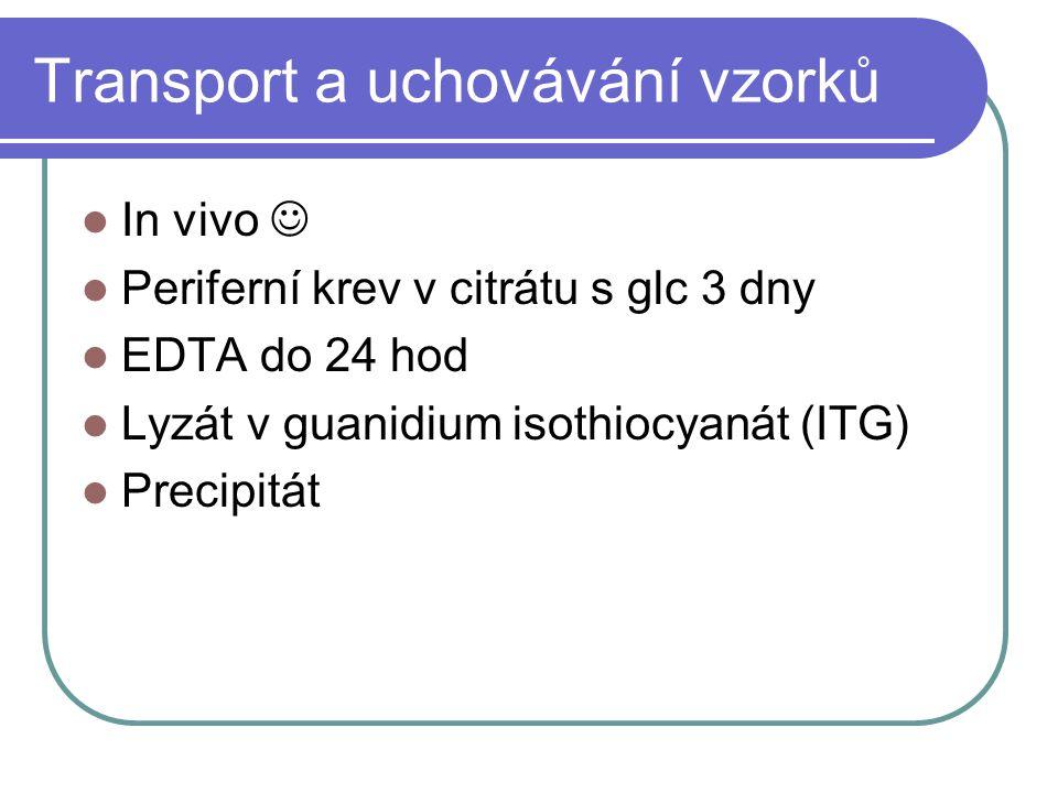 Transport a uchovávání vzorků