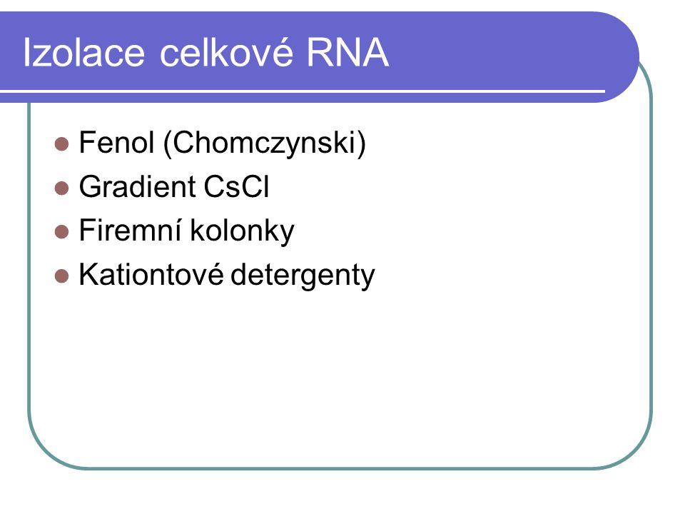 Izolace celkové RNA Fenol (Chomczynski) Gradient CsCl Firemní kolonky