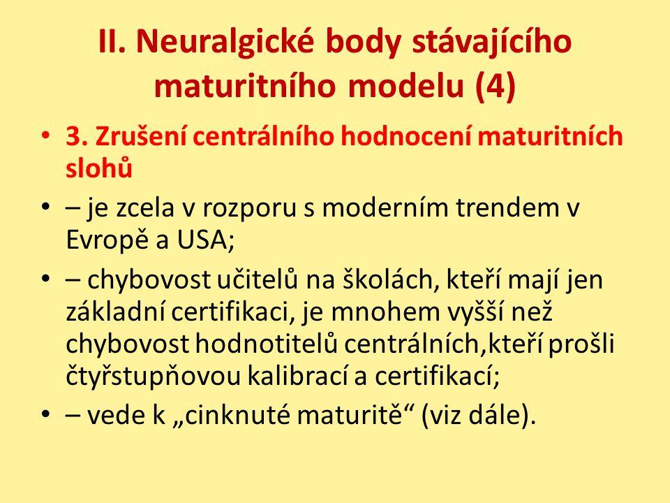 II. Neuralgické body stávajícího maturitního modelu (4)