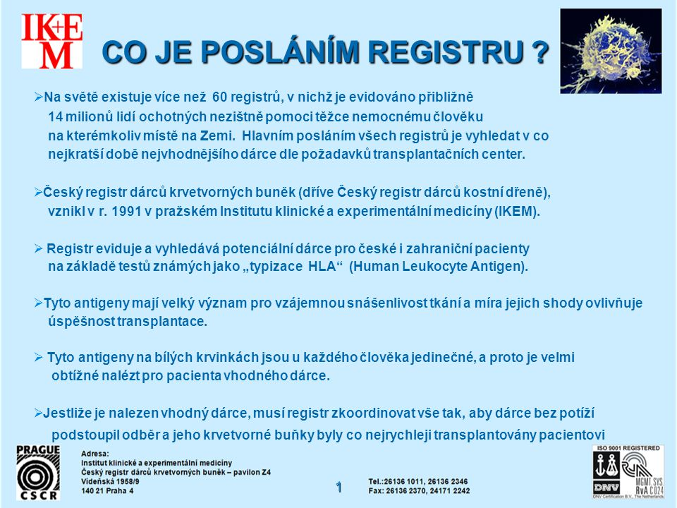 CO JE POSLÁNÍM REGISTRU