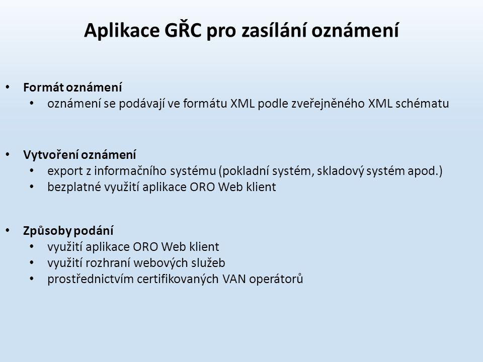 Aplikace GŘC pro zasílání oznámení
