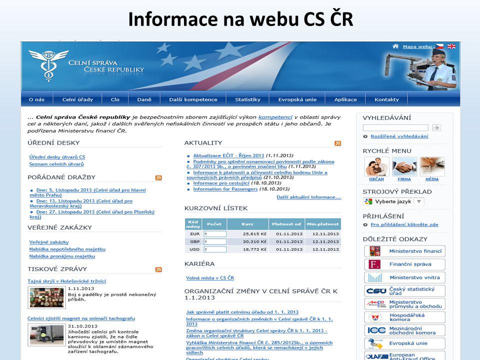 Informace na webu CS ČR