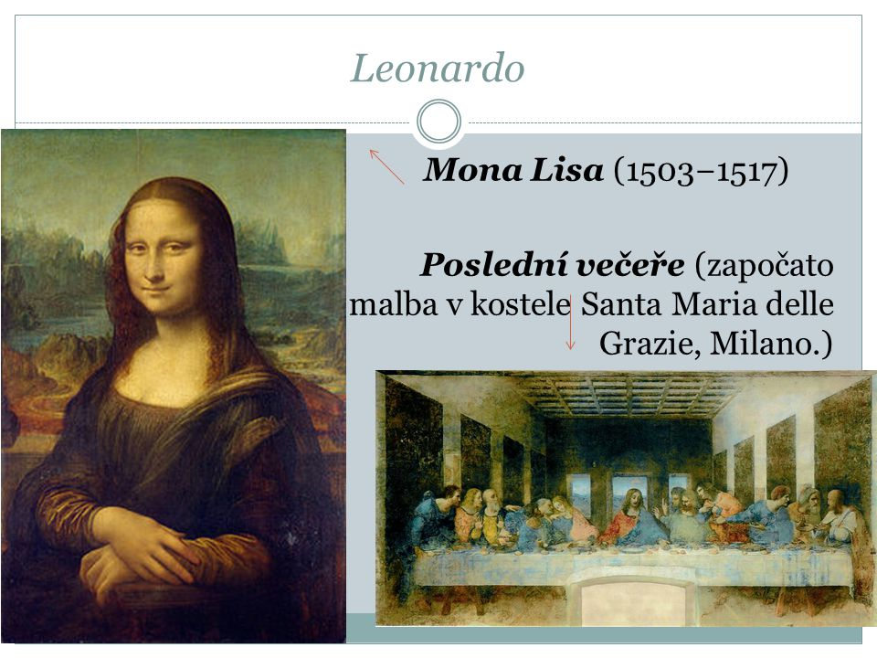 Leonardo Mona Lisa (1503−1517) Poslední večeře (započato 1495, nástěnná malba v kostele Santa Maria delle Grazie, Milano.)